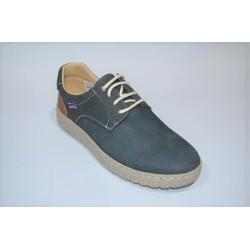 ROUTE 83: Zapatos casual en piel. AZUL.
