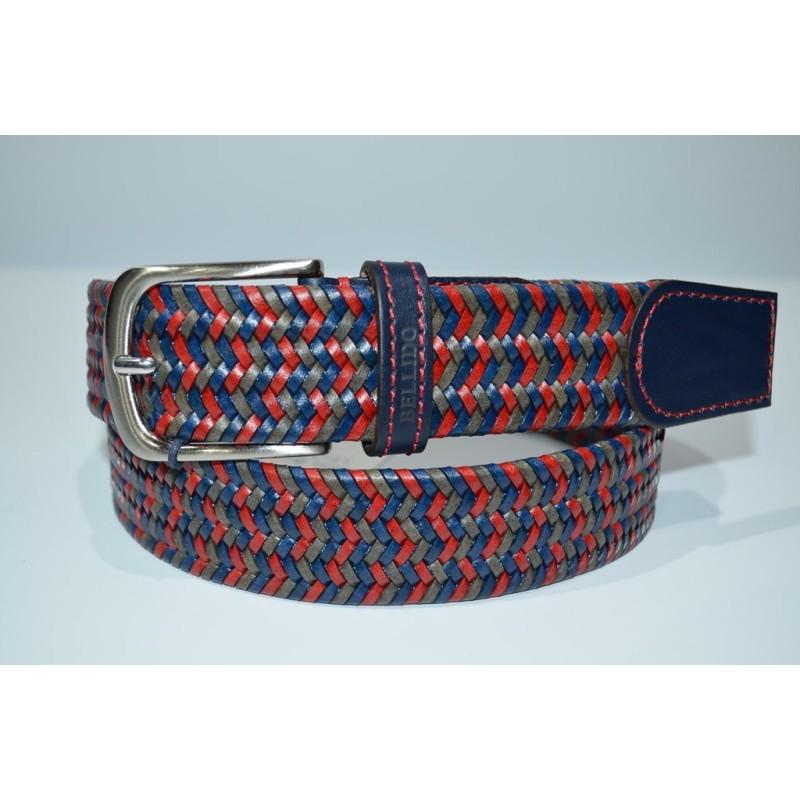 Miguel Bellido: Cinturón de 35 mm. Azul/rojo/taupe. 102991