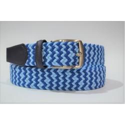 Miguel Bellido: cinturón trenzado elástico 394-35-azul/celeste