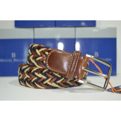 Miguel Bellido: cinturón trenzado Azul/beig/cuero