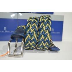 Miguel Bellido: cinturón trenzado Azulon/beig/verde