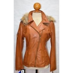 chaqueta cruzada de piel con cremallera