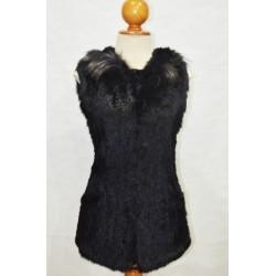 Chaleco de pelo de conejo tricotado