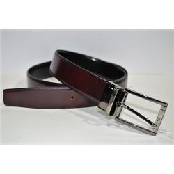 Miguel Bellido: Cinturón reversible negro/burdeos
