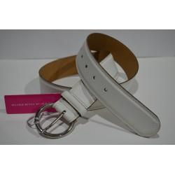 ROBERTO BELLIDO: Cinturón 4 cm. Blanco