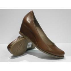 zapato de cuña de piel